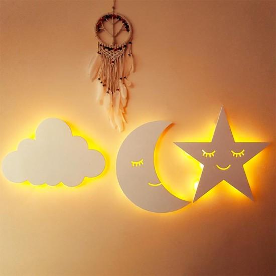 3 lü Led Işıklı Ahşap Ay Yıldız Bulut Beyaz Duvar Lambası
