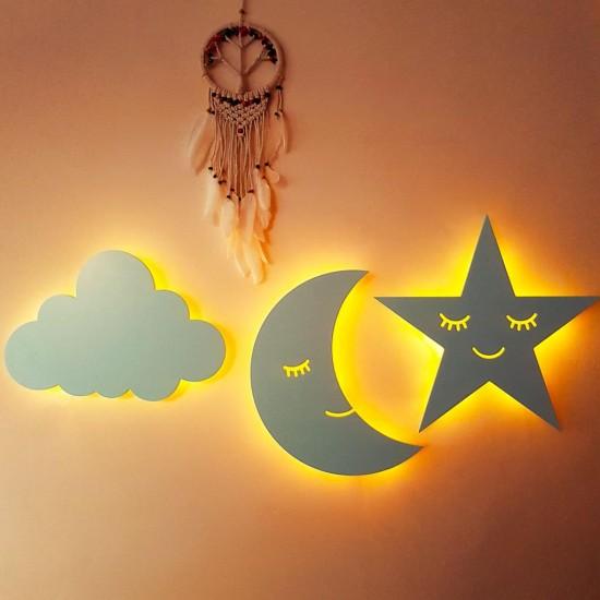 3 lü Led Işıklı Ahşap Ay Yıldız Bulut Mavi Duvar Lambası