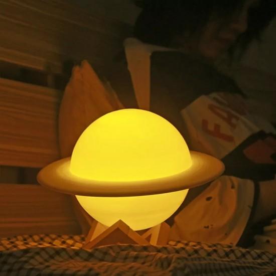3 Renkli Satürn Gece Lambası Dokunmatik Led Işıklı Ay