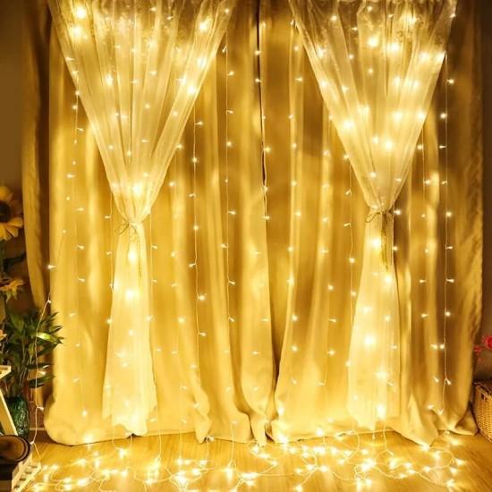 3x2 Metre Pilli Perde Led Işıklar Kumandalı Animasyonlu Gün Işığı