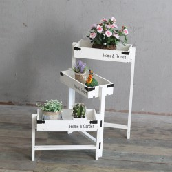 Ahşap Basamak Çiçeklik Raf - Beyaz