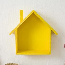 Ahşap Ev Duvar Rafı - Sarı