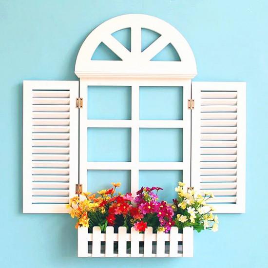 Ahşap Panjur Pencere Çiçeklik Duvar Rafı