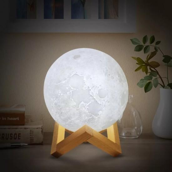 Beyaz Işıklı Moonlight Dolunay Gece Lambası 15 cm