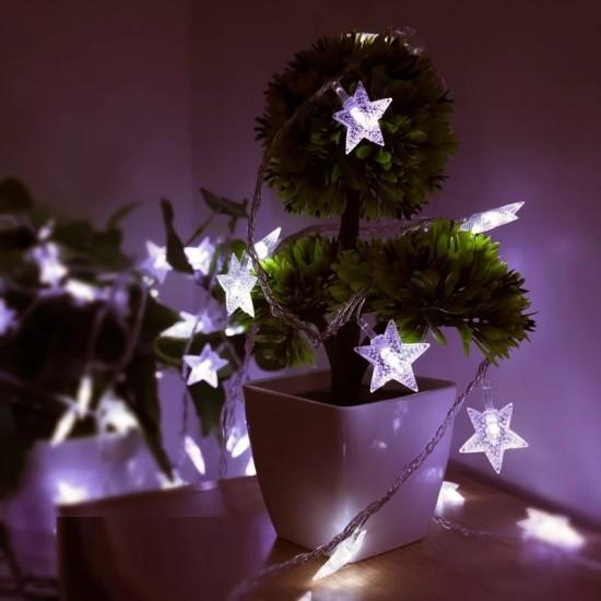 Beyaz Led Işıklı 4 Metre Işıklı Yıldız Dizeleri
