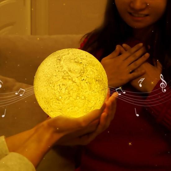 Bluetooth Hoparlörlü Ay Gece Lambası 16 Renkli Dokunmatik Uzaktan Kumandalı