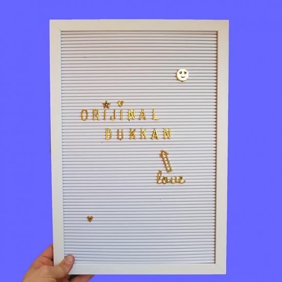 Ahşap Çerçeveli Büyük Boy Beyaz Yazı Panosu Tahtası 140 Gold Harfli