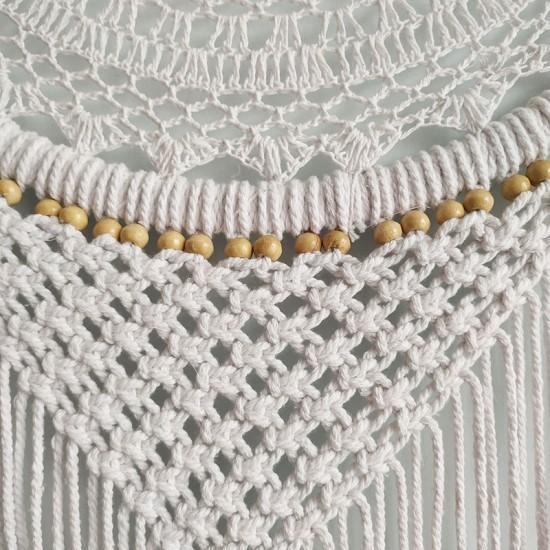 Büyük Boy El Yapımı Beyaz Renk Ahşap Boncuklu Örgülü Makrome