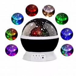 Çok Renkli ve Dönen Star Master Gece Lambası - Yıldızlı Siyah