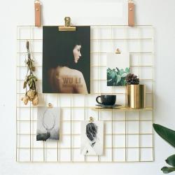 Gold Metal Tel Organizer Duvar Panosu – 60×60 cm