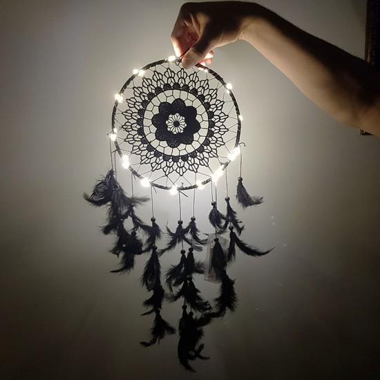 Işıklı Dantel Desenli Siyah El Yapımı Düş Kapanı Dream Catcher