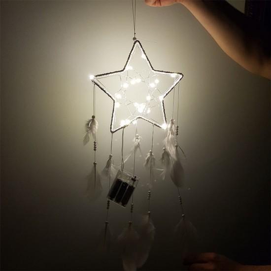 Işıklı Yıldız El Yapımı Düş Kapanı Dream Catcher