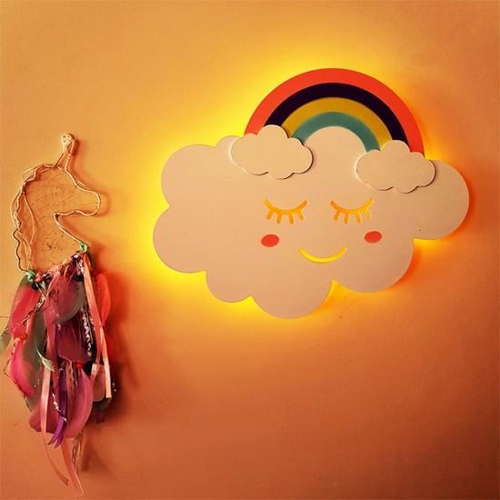 Led Işıklı Ahşap Gökkuşağı Duvar Lambası Çocuk Odası Aydınlatma