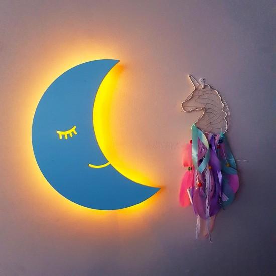 Led Işıklı Ahşap Mavi Ay Duvar Lambası Çocuk Odası Aydınlatma