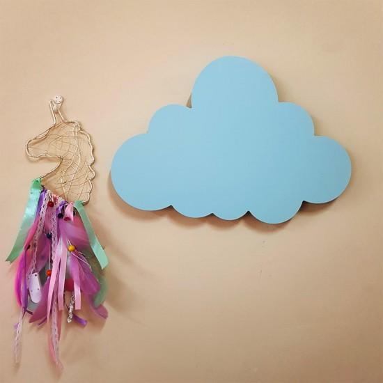 Led Işıklı Ahşap Mavi Bulut Duvar Lambası Çocuk Odası Aydınlatma
