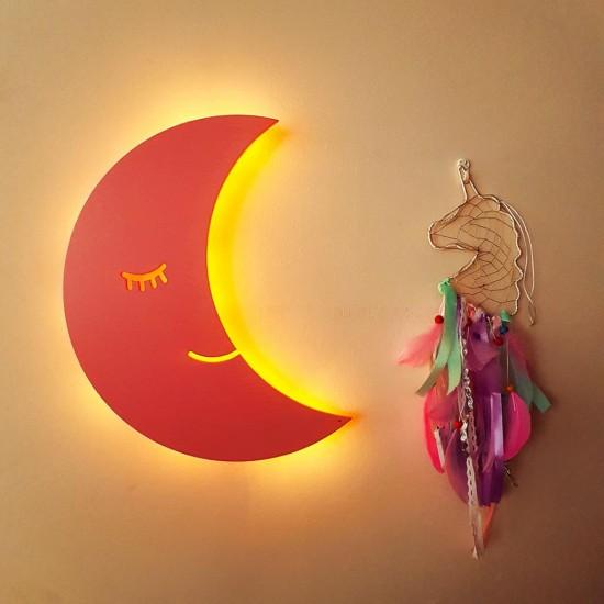 Led Işıklı Ahşap Pembe Ay Duvar Lambası Çocuk Odası Aydınlatma