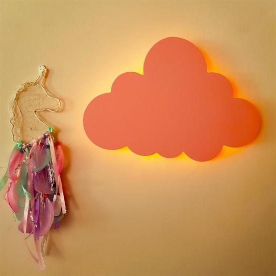 Led Işıklı Ahşap Pembe Bulut Duvar Lambası Çocuk Odası Aydınlatma