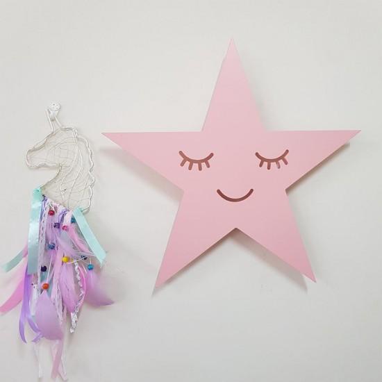 Led Işıklı Ahşap Pembe Yıldız Duvar Lambası Çocuk Odası Aydınlatma