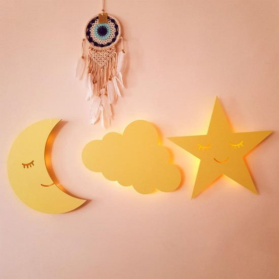 Led Işıklı Ahşap Sarı Bulut Duvar Lambası Çocuk Odası Aydınlatma