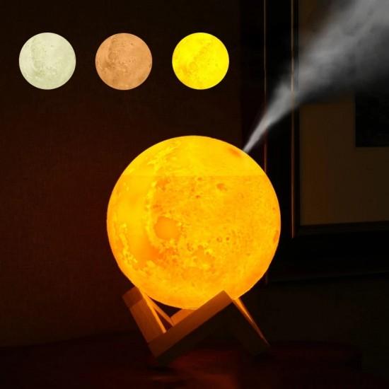 Led Işıklı Ay Hava Nemlendiricili Gece Lambası Şarjlı Model