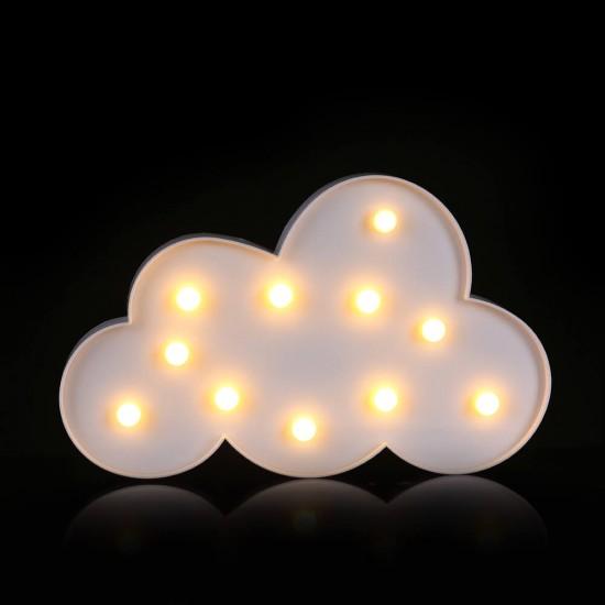Led Işıklı Bulut Dekoratif Masa Duvar Gece Lambası - Beyaz
