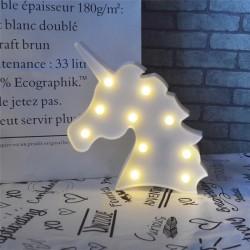 Led Işıklı Beyaz Unicorn Kafa Masa Duvar Gece Lambası