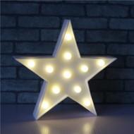 Led Işıklı Beyaz Yıldız Star Masa Duvar Gece Lambası