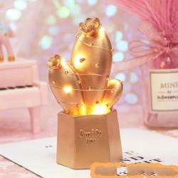 Led Işıklı Gold Kaktüs Biblo Smile