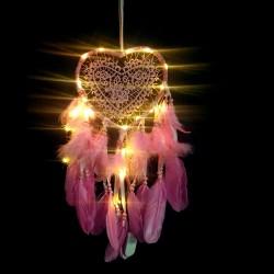 Led Işıklı Pembe Kalp Düş Rüya Kapanı Dream Catcher