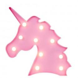 Led Işıklı Pembe Unicorn Kafa Masa Duvar Gece Lambası