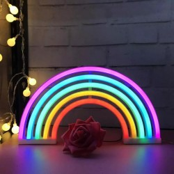Neon Işıklı Gökkuşağı Gece Lambası