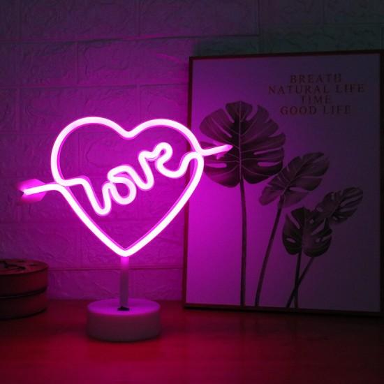 Neon Işıklı Ok İşaretli Kalpli Love Masa Lambası