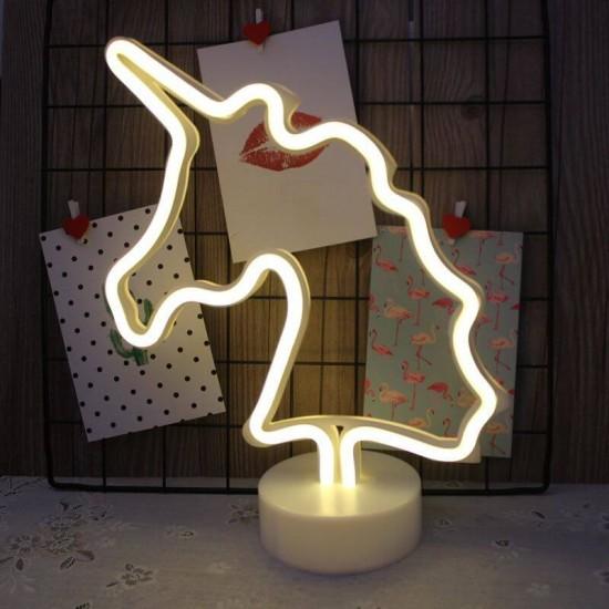 Neon Işıklı Unicorn Masa Lambası