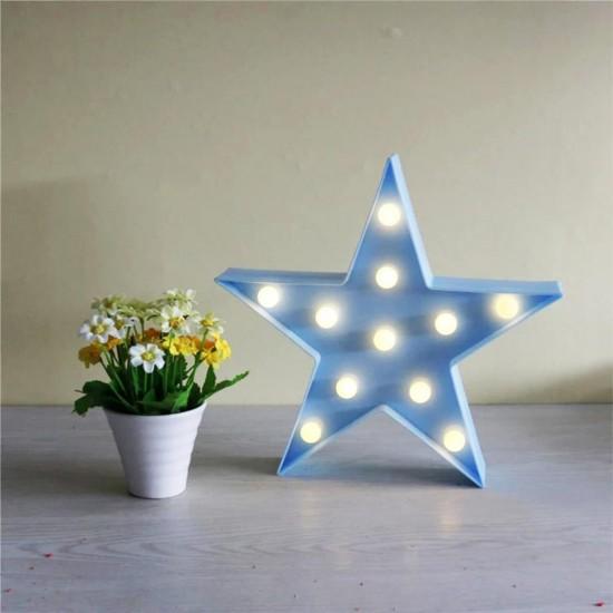 Dekoratif Led Işıklı Mavi Star Yıldız Gece Lambası