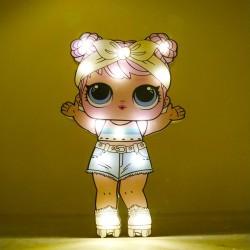 Işıklı Ahşap Lol Bebek Gece Lambası - Model 2-
