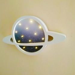 Işıklı Ahşap Uzay Gece Lambası Beyaz
