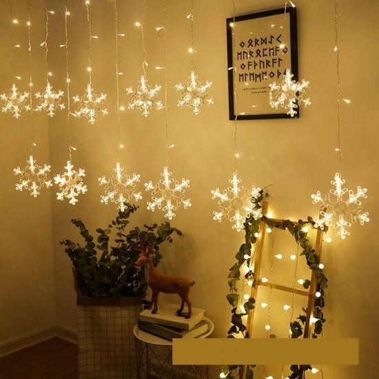Kar Taneli Perde Led Işıklar Animasyonlu Eklemeli