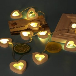 Işıklı Ahşap Kalp Dizeleri