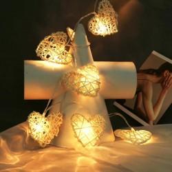Işıklı Bambu Beyaz Kalp Dizeleri