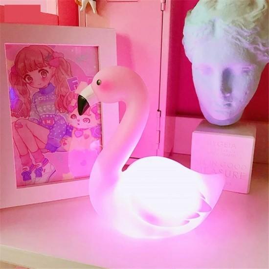 Led Işıklı Silikon Flamingo Gece Lambası