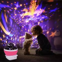 Çok Renkli ve Dönen Star Master Gece Lambası - Unicornlu Pembe