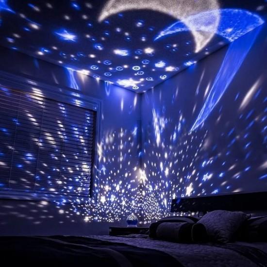 Çok Renkli ve Dönen Star Master Gece Lambası - Yıldızlı Mavi