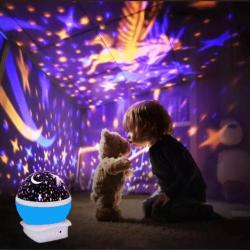 Çok Renkli ve Dönen Star Master Gece Lambası - Unicornlu Mavi