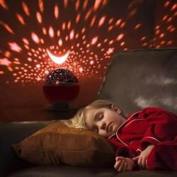 Çok Renkli ve Dönen Star Master Gece Lambası - Yıldızlı Pembe-