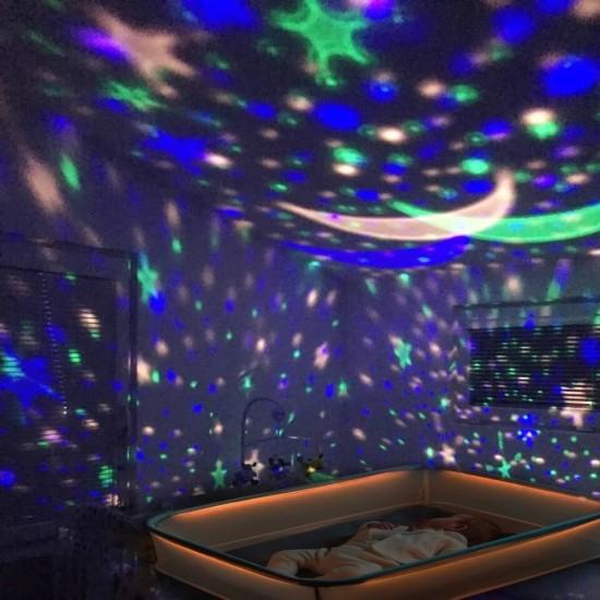Çok Renkli ve Dönen Star Master Gece Lambası - Yıldızlı Pembe