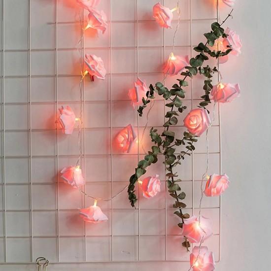 Led Işıklı Pembe Güller 10'lu 1,5 metre