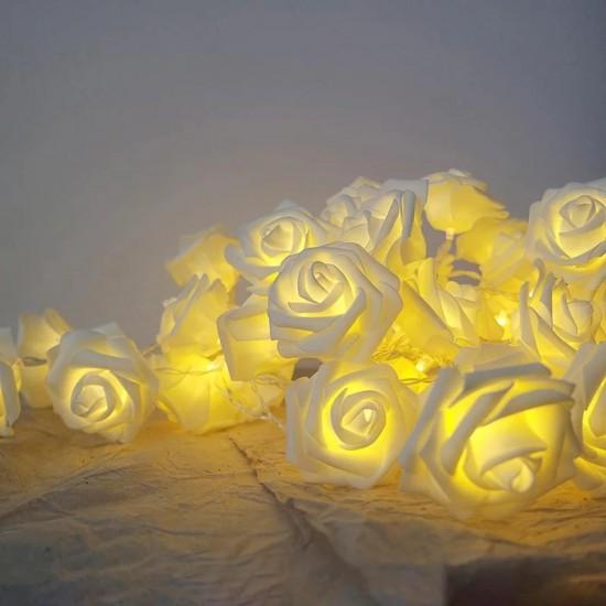 Led Işıklı Beyaz Gül Dizeleri 20'li 3 metre