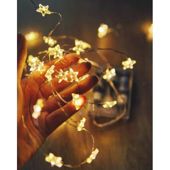Işıklı Yıldız Bakır Tel Led Dizeleri 3 metre