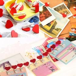 Ahşap Kalpli Fotoğraf Mandalları -Jüt İp Hediyeli-