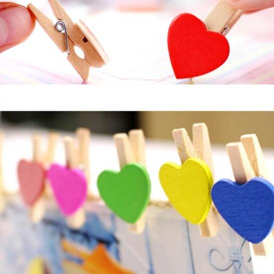 Ahşap Renkli Kalp Fotoğraf Mandalları -Jüt İp Hediyeli-